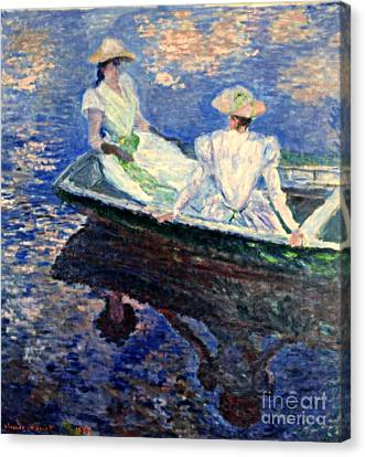 Young Girls In A Row Boat Canvas Print by Monet
