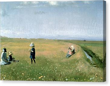 Picking Flowers Canvas Print - Young Girls Picking Flowers In A Meadow by Michael Peter Ancher