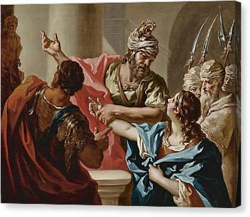 Young Hannibal Swears Enmity To Rome Canvas Print by Giovanni Antonio Pellegrini