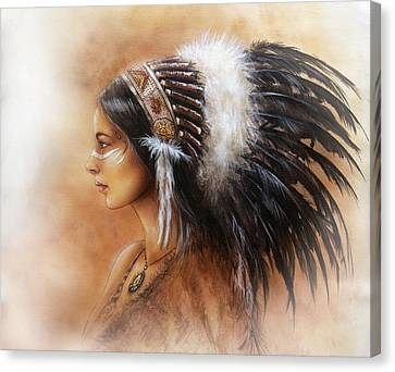 Native American Spirit Portrait Canvas Print - Young Indian Woman Wearing A Big Feather Headdress A Profile Portrait On Structured Abstract by Jozef Klopacka