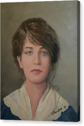 Young Irish Woman On Eliis Island Canvas Print by Sandra Nardone