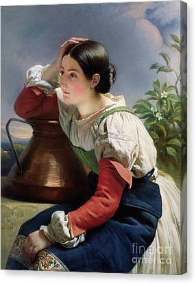 Jugs Canvas Print - Young Italian At The Well by Franz Xaver Winterhalter