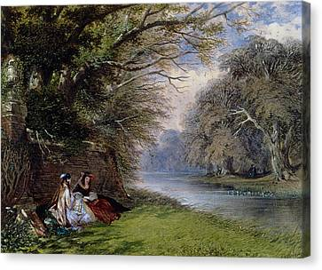 Young Ladies By A River Canvas Print by John Edmund Buckley