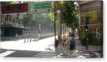 Young Lady And Gent On Rios Rosas Street - Madrid Canvas Print by Thomas Bussmann