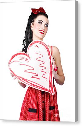 Young Lady Holding Retro Red Heart Card Canvas Print by Jorgo Photography - Wall Art Gallery