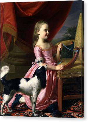 Young Lady With A Bird And A Dog Canvas Print by John Singleton Copley