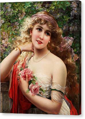 Young Lady With Roses Canvas Print