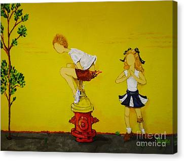 Canvas Print featuring the painting Young Love Series -  The Fire Plug by Barbara Hayes