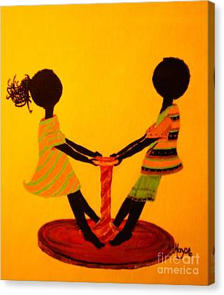 Canvas Print featuring the painting Young Love-twirling by Barbara Hayes