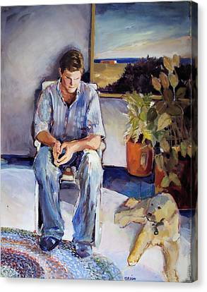 Young Man And His Dog Canvas Print by Diane Ursin