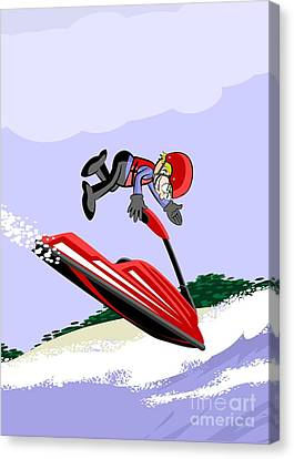 Fun Canvas Print -  Young Man In A Red Jet Ski Jumping In The Sea by Daniel Ghioldi