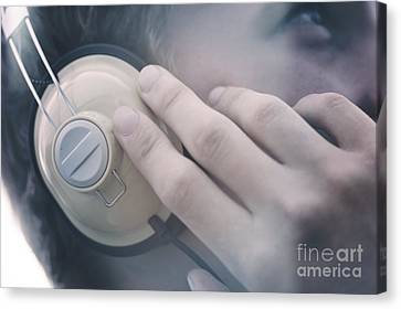 Young Man Listening To Music Headphones Canvas Print by Jorgo Photography - Wall Art Gallery