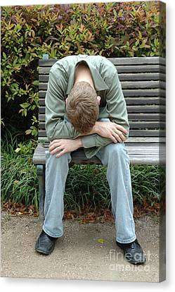 Young Man On Bench Canvas Print