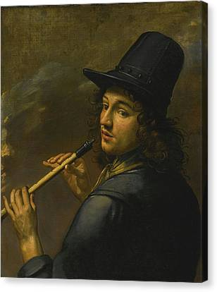 Young Man Playing A Recorder Canvas Print by Celestial Images