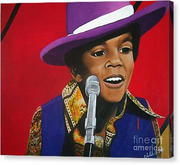 Young Michael Jackson Singing Canvas Print