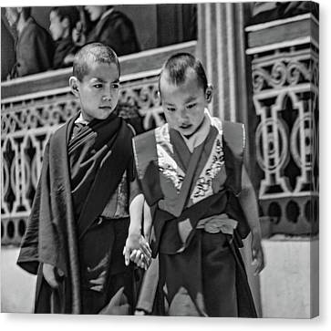 Young Monks - Buddies Bw Canvas Print