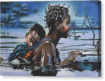 Young Mother And Child Canvas Print by Andre Ajibade