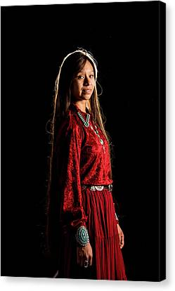 Young Navajo Girl Dressed In Finery Canvas Print by Elizabeth Hershkowitz