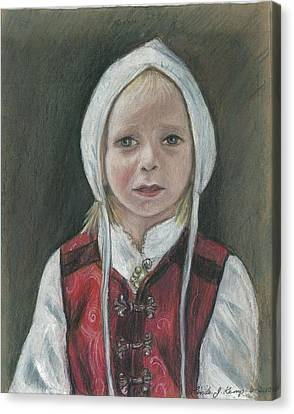 Young Norwegian Girl            Canvas Print by Linda Nielsen