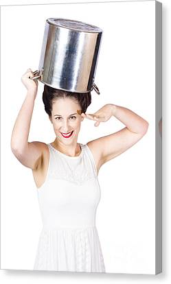 Young Pin Up Lady Reporting For Kitchen Duties Canvas Print by Jorgo Photography - Wall Art Gallery