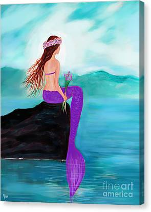 Young Pretty Mermaid Canvas Print by Leslie Allen