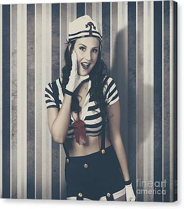 Young Retro Pinup Woman Shouting Maritime Surprise Canvas Print by Jorgo Photography - Wall Art Gallery