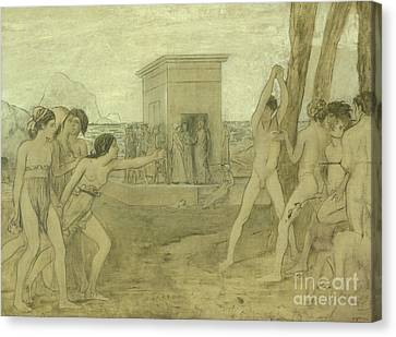 Young Spartan Girls Challenging Boys Canvas Print by Edgar Degas