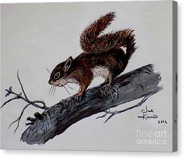 Young Squirrel Canvas Print by Judy Kirouac