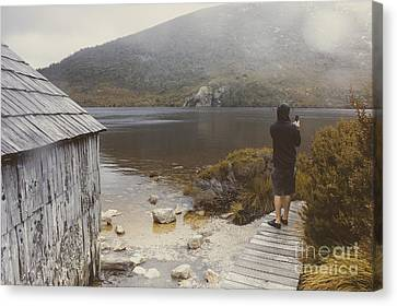 Young Tasmanian Hiking Tourist Taking Lake Photo Canvas Print by Jorgo Photography - Wall Art Gallery
