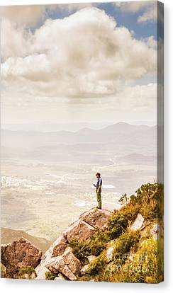 Young Traveler Looking At Mountain Landscape Canvas Print by Jorgo Photography - Wall Art Gallery