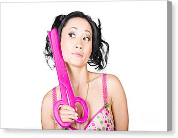 Young Woman Barber Holding Large Pink Scissors Canvas Print