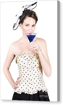 Young Woman Drinking Alcoholic Beverage Canvas Print by Jorgo Photography - Wall Art Gallery