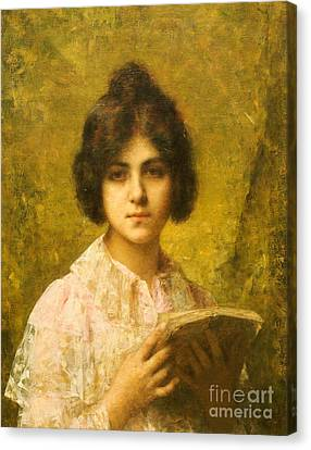 Young Woman Holding A Book Canvas Print by Alexei Alexevich Harlamoff