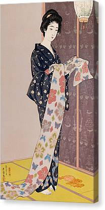 Young Woman In A Summer Kimono Canvas Print by Goyo Hashiguchi