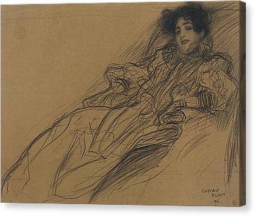 Young Woman In An Armchair Canvas Print by Gustav Klimt