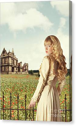 Young Woman In English Countryside Canvas Print by Amanda Elwell
