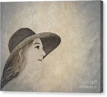 Young Woman In Hat Canvas Print by Randy Steele