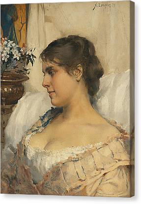 Young Woman In Her Boudoir Canvas Print by Albert Edelfelt
