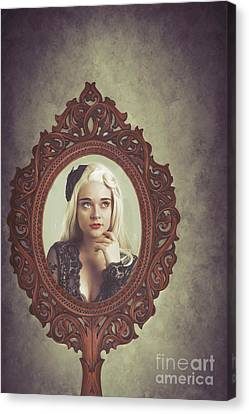 Young Woman In Mirror Canvas Print by Amanda Elwell