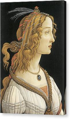 Young Woman In Mythical Guise Canvas Print by Sandro Botticelli
