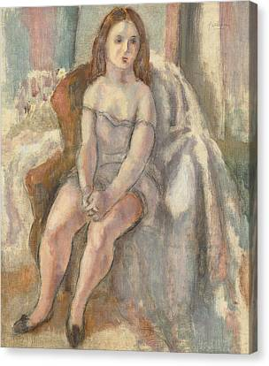 Young Woman In White Chemise Canvas Print by Jules Pascin