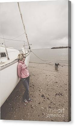 Young Woman Leaning Against A Luxury Yacht Canvas Print