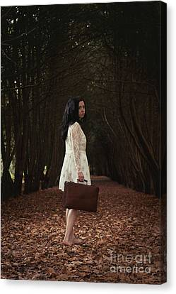 Young Woman Looking Back Canvas Print by Amanda Elwell