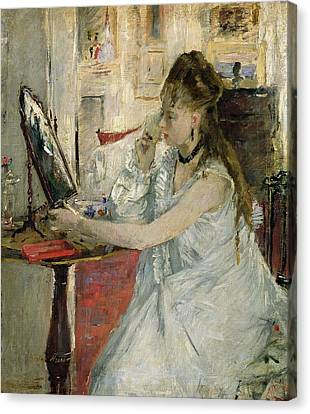 Dressing Room Canvas Print - Young Woman Powdering Her Face by Berthe Morisot