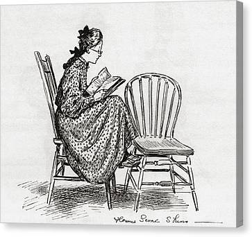Young Woman Reading In The Nineteenth Canvas Print