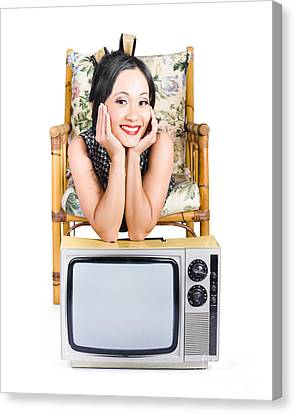 Young Woman Resting On Old Retro Tv Canvas Print by Jorgo Photography - Wall Art Gallery