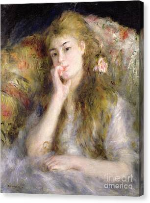 Young Woman Seated Canvas Print by Pierre Auguste Renoir