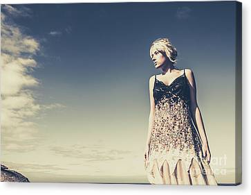 Gorgeous View Canvas Print - Young Woman Standing On The Beach by Jorgo Photography - Wall Art Gallery