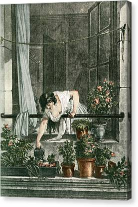 Young Woman Watering Plants Canvas Print