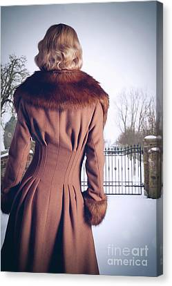 Young Woman Wearing Coat Canvas Print by Amanda Elwell